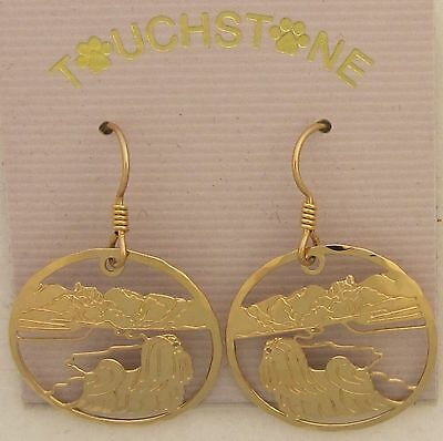 Lhasa Apso Jewelry Gold Dangle Earrings by Touchstone