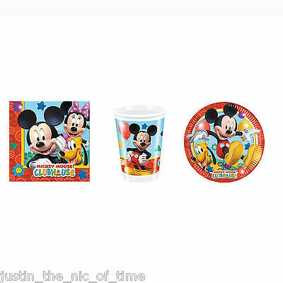 Disney Mickey Mouse Clubhouse Boys Party STARTER PACK Plates Cups Napkins For 24