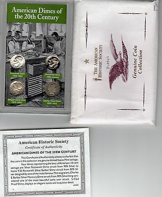 American Dimes Of The 20Th Century Encased With Coa