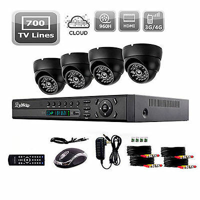Liview 4CH 700TVL Outdoor Day/Night Security Camera HDMI 960H Network DVR Kit
