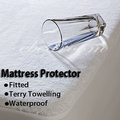 Fitted Terry Towelling Waterproof Mattress Protector Cot/S/KS/D/Q/K 6 SIZE
