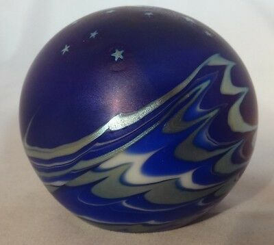 Glass Lundberg Paperweight, Moon, Stars, and Sea at Night