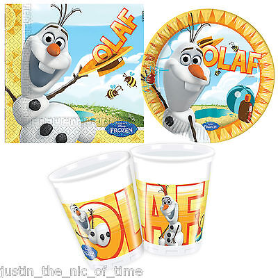 Disney FROZEN SUMMER OLAF Party Pack STARTER KIT Plates Cups Napkins For 24