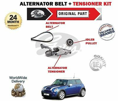 For Mini Cooper 1.6 S  Jcw 2004-2008 Alternator Fan Belt + Tensioner Pulley Kit