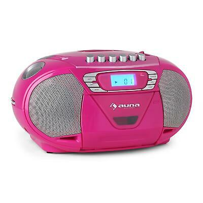 Neu Stereo Kassettendeck Top Loading Mp3 Cd Player Radio Boombox Lcd Pink