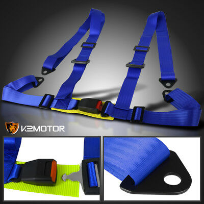 Blue Racing Seat Belt 4Pt 4 Point Safety Harness