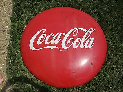 "Vintage 48"" Round Coca-Cola Button Sign, EXCELLENT CONDITION!"