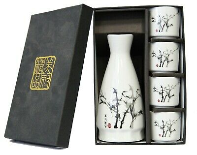 Japanese Shrimp Design Porcelain Sake Set 1 Bottle and 4 Cups in Gift Box