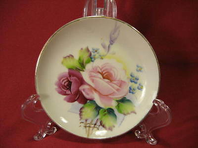 Vintage Small Ceramic Trinket Dish Hand Painted & Signed Roses & Floral - Japan