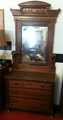 Victorian Antique Bedroom Dressers with Mirror Marble Top