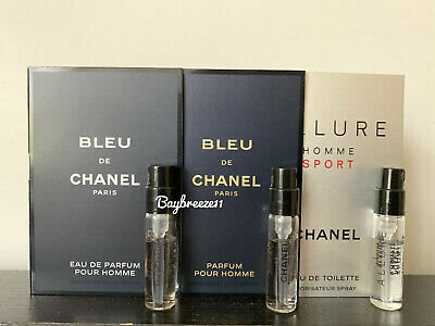 Lot of 3: Chanel Bleu EDT, Allure Homme Sport, Homme Sport Cologne  1.5ml each