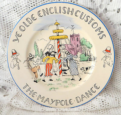 "BURLEIGH FONDEVILLE YE OLDE ENGLISH CUSTOMS THE MAYPOLE DANCE 6"" PLATE"