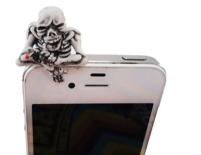 Smoking Skeleton Phone Dust Earphone Jack Plug 3.5mm Apple Samsung Note HTC S4