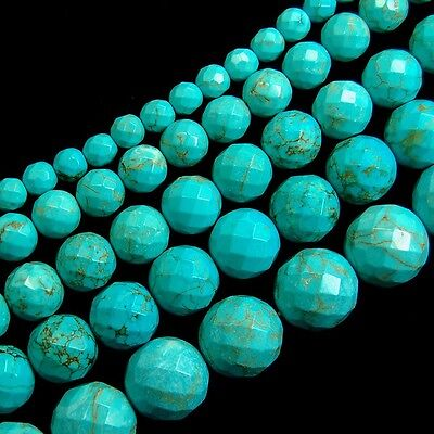 Stabilized Blue Turquoise Gemstone Faceted Round Beads 15.5'' 6mm 8mm 10mm 12mm