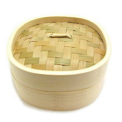 "8"" Superior Square Bamboo Steamer 2 Tier 1 Lid + FREE 25 Dim Sum Papers"