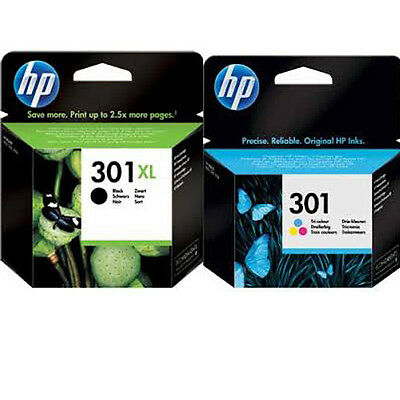 HP 301XL Black + HP 301 Colour Genuine Original Ink Cartridge Combo Multipack