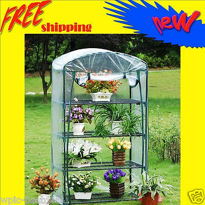 Garden Green House - 4 tier Mini Portable Hot Greenhouse w/Shelves - GH006