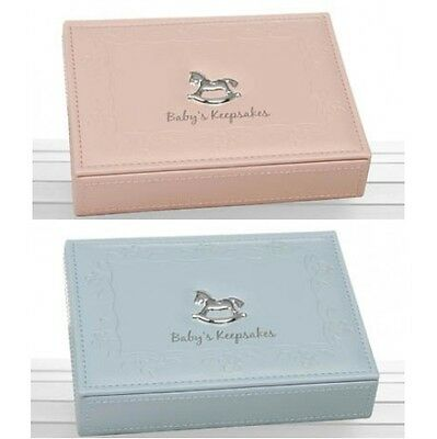 Baby Pink Girl  Blue Boy Faux Leather Keepsake Box Christening Birth Gift