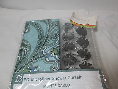 New Victoria Classics MONTE CARLO 13 Pc Shower Curtain Hooks Set