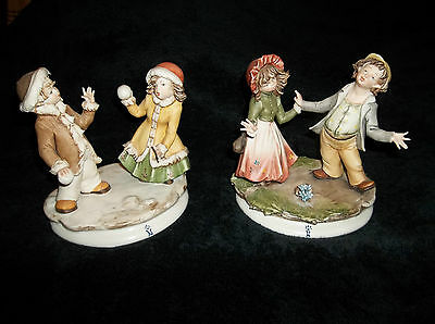 CAPODIMONTE SET OF WINTER AND SUMMER SCENES WITH YOUNG COUPLES~ CUTE!