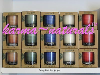 FENG SHUI Candle - Gift Box 2.5 oz. in Green White Red Brown or Blue - Aloha Bay