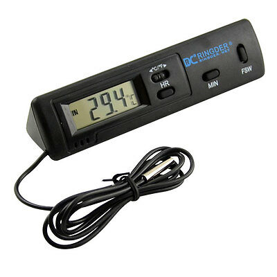 Indoor outdoor Car LCD Digital Thermometer Temperature Meter Clock Probe Sensor