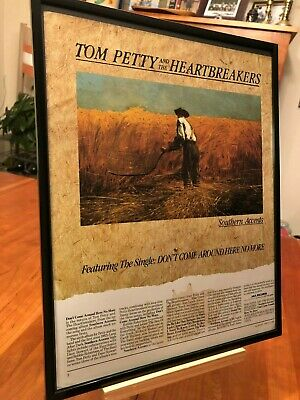 """Big 11X14 Framed Tom Petty """"southern Accents"""" Live Radio Show Lp Cd Promo Ad"""