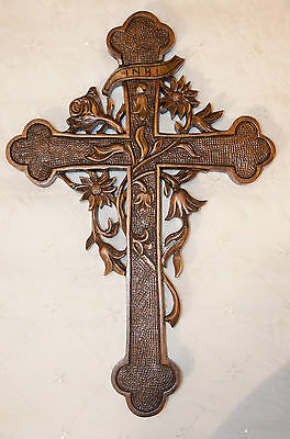 Antique style wooden carved cross