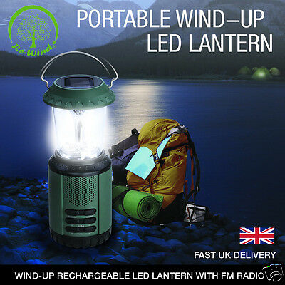 Re-Wind Wind-Up Solar Power LED Camping Lantern with Hanging Hook + FM Radio