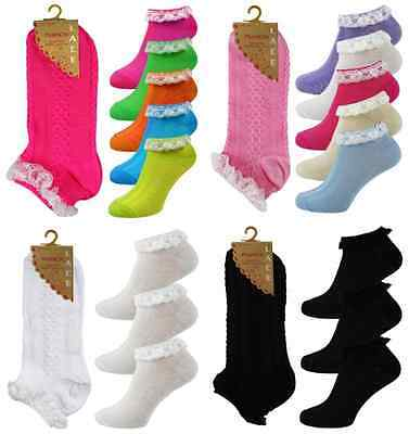 Ladies/Girls Neon Frilly Lace Trim Ankle Trainer Liner Socks Fancy DressSize 4-8
