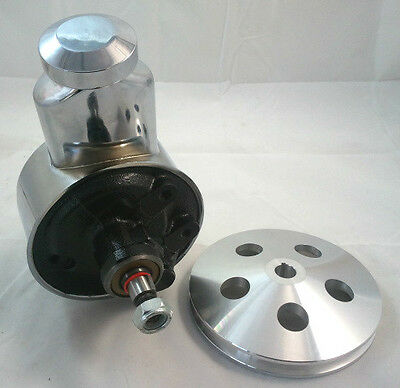 SB Chevy SBC Chevy Early Banjo Style Saginaw Power Steering Pump W/Billet Pulley