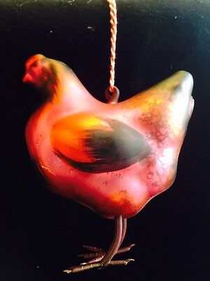 NEW Park Hill Glass Chicken Ornament -  Red, Hot Pink And Black