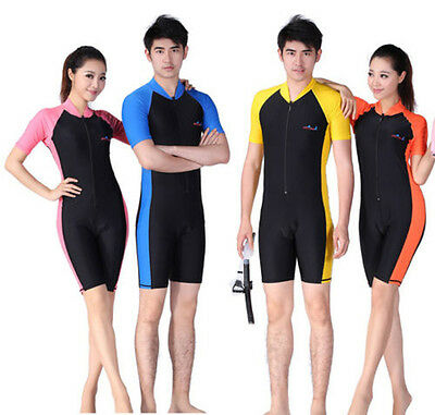 Men Women RashGuard Surfing Diving Skin Short Sleeves Shorty Wetsuit Swimwear