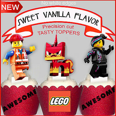15 Lego Movie EDIBLE wafer XL Cupcake Toppers 15 designs PRE-CUT cup cake