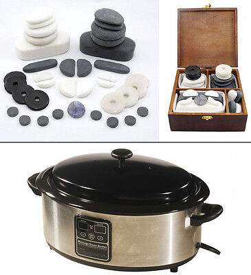 HOT/COLD STONE MASSAGE KIT: 37-Piece Facial Set + 6.5 Quart Digital Stone Heater