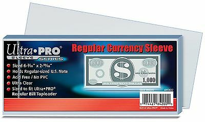 Ultra Pro - Bank Note Currency Sleeves - Regular Size x 100
