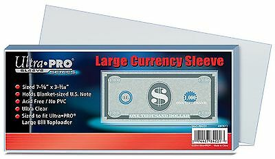 Ultra Pro - Bank Note Currency Sleeves - Large Size x 100