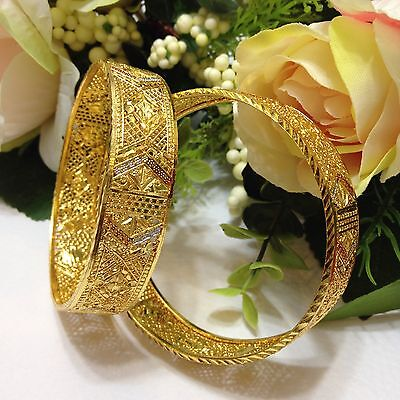 Indian Gold Plated Bangles Size: (2.4) (Set Of 2)