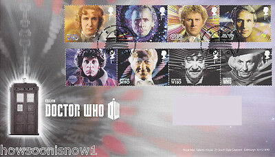 2013 50th Anniv. 11 Doctors Dr Who First Day UK Stamp Cover Sets 11-9 & 8-1 Docs