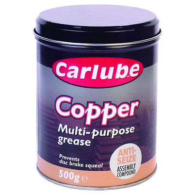 Carlube Copper Multi Purpose Grease 500g XCG500 Anti-Seize Assembly Compound Tin