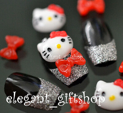 20pcs White Red Hello Kitty Bow Knot Resin Nail Art Cell Phone Decoration