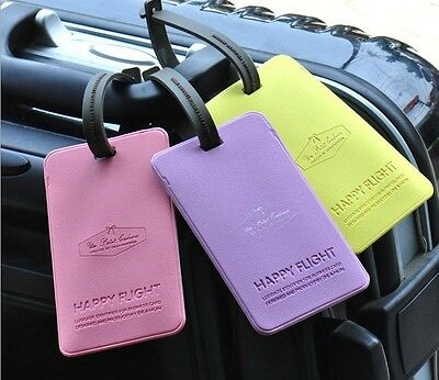 Cute Romantic Candy Color Happy Flight Luggage Name Tag Wallet Bag Purse Gift