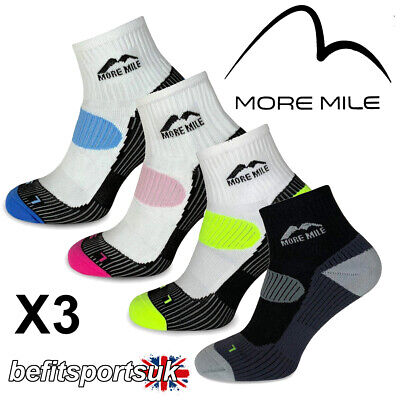 More Mile Mens Womens Ladies London Ankle Running Sports Cushioned Socks 3