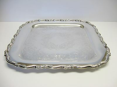 """Vintage Oneida Silver Plate Square Georgian Scroll Butler Serving Tray 15"""""""