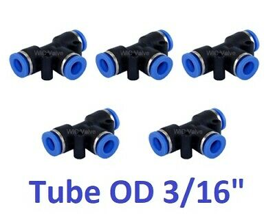 """Pneumatic Push In To Connect Air Fitting Tee Union Tube OD 3/16"""" One Touch 5pcs"""