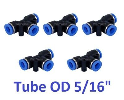 """Tee Union Pneumatic Push In To Connect Fitting Tube OD 5/16"""" One Touch 5 Pieces"""