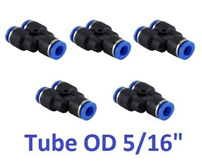 "Pneumatic Y Union Connector Tube OD 5/16"" One Touch Air Instant Fitting 5 Pieces"