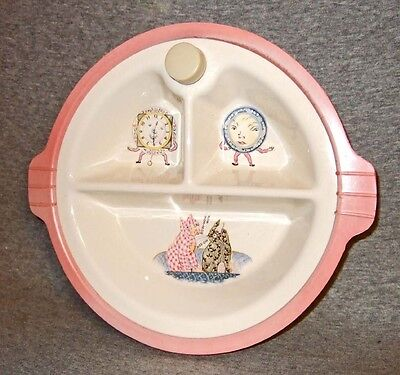 Vintage Excello Baby Warming Dish~calico cats/plate/clock~exc.cond. no f/d