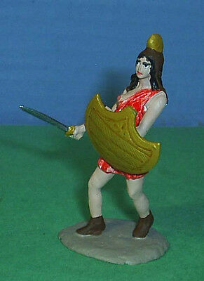 TOY SOLDIERS METAL ANCIENT AMAZON WOMAN WITH SWORD & SHIELD 54MM