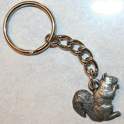 SQUIRREL Fine Pewter Keychain Key Chain Ring USA Made